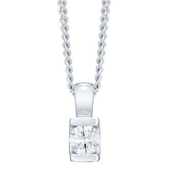 9ct White Gold Bar Set 0.15ct Diamond Solitaire Pendant - Product number 4719972