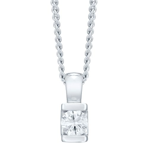 9ct white gold bar set diamond solitaire pendant - Product number 4719972
