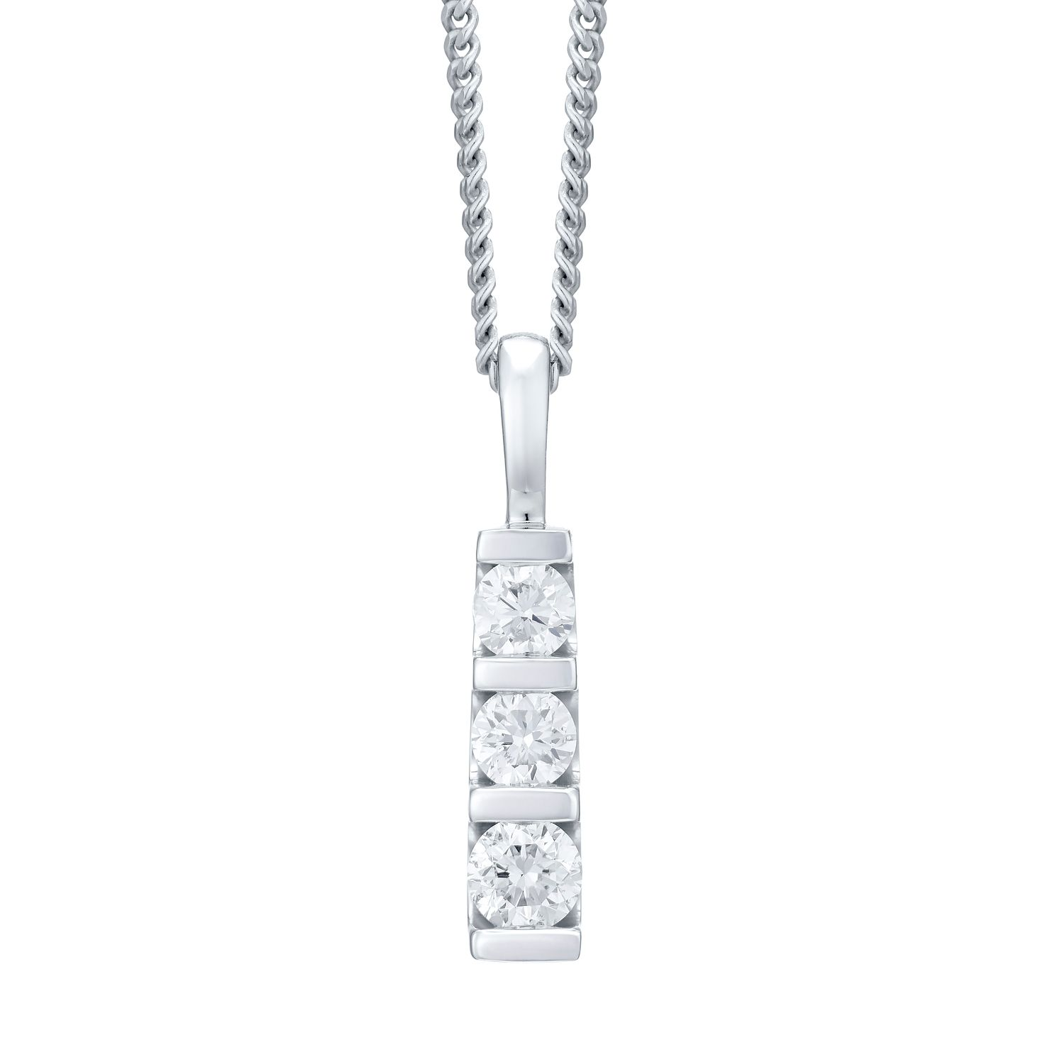 9ct White Gold Trilogy Diamond Pendant Necklace - Product number 4720016
