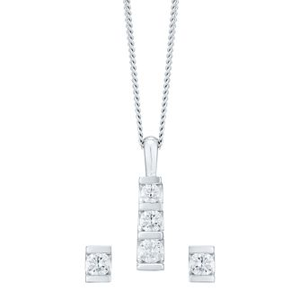 9ct White Gold 2/3ct Diamond Earring and Pendant Set - Product number 4720024