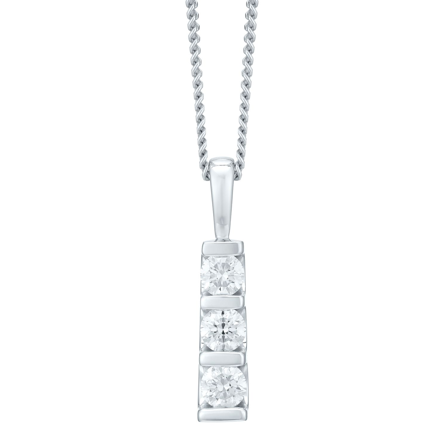 9ct White Gold Trilogy Diamond Pendant Necklace - Product number 4720032