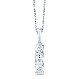 9ct White Gold Trilogy 0.50ct Total Diamond Pendant - Product number 4720032