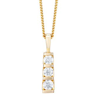 9ct Yellow Gold Trilogy 0.50ct Total Diamond Pendant - Product number 4720040
