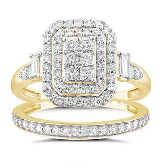 Perfect Fit 9ct Gold 0.80ct Diamond Cushion Bridal Set - Product number 4720237
