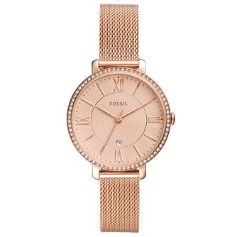 Fossil Jacqueline Rose Gold Tone Mesh Bracelet Watch - Product number 4720245