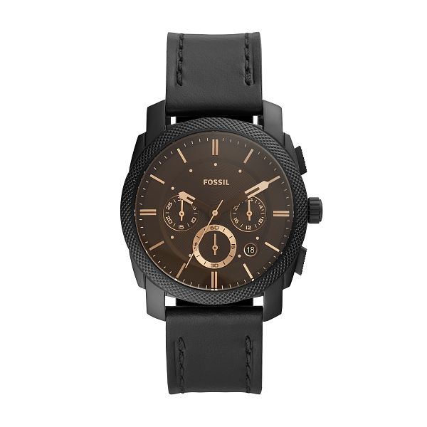 Fossil Machine Chronograph Men's Black Leather Strap Watch - Product number 4720636