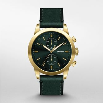 Fossil Townsman Men's Dark Green Leather Strap Watch - Product number 4720644