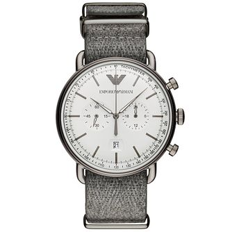 Emporio Armani Men's Grey Fabric Strap Watch - Product number 4720717