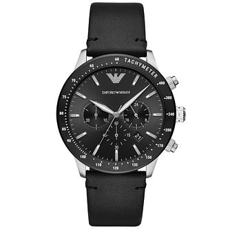 Emporio Armani Men's Black Leather Strap Watch - Product number 4720784