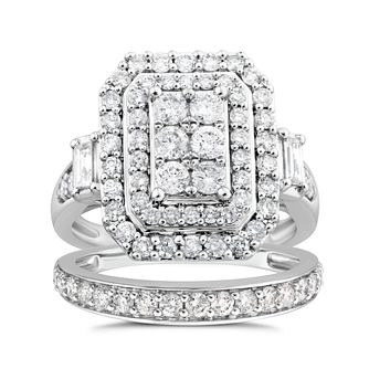 9ct White Gold 1.50ct Diamond Cushion Perfect Fit Bridal Set - Product number 4720954