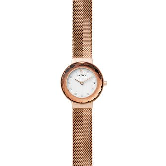 Skagen Leonora Ladies' Rose Gold Tone Mesh Bracelet Watch - Product number 4721136