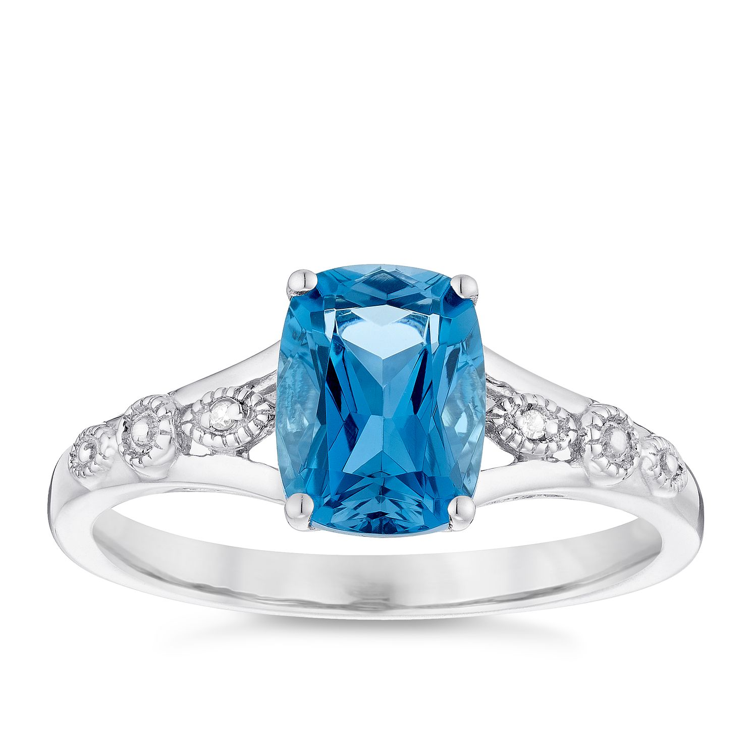 Sterling Silver London Blue Topaz & Diamond Ring - Product number 4722000