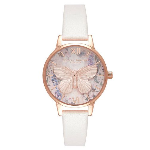 Olivia Burton Rose Gold Plated Butterfly Vegan Strap Watch - Product number 4722116