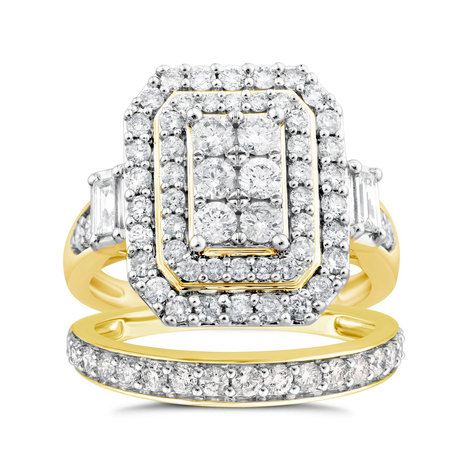 Perfect Fit 9ct Gold 1.50ct Diamond Cushion Bridal Set - Product number 4722175