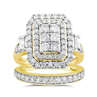 9ct Gold 1.50ct Diamond Cushion Perfect Fit Bridal Set - Product number 4722175