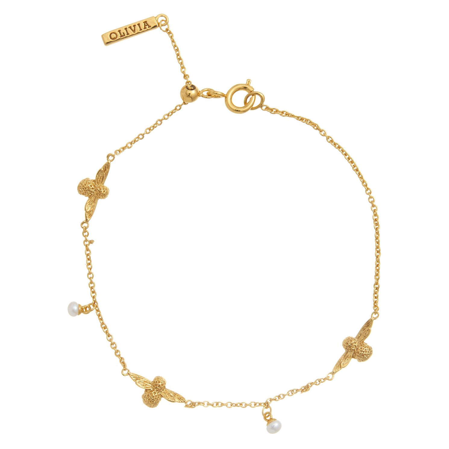 Olivia Burton Yellow Gold Plated Pearl Bee Bracelet - Product number 4722647