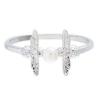 Olivia Burton Rhodium Plated Pearl Bee Ring - Product number 4722663
