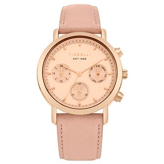 Fiorelli Ladies' Rose Gold Dial Nude Strap Watch - Product number 4729315