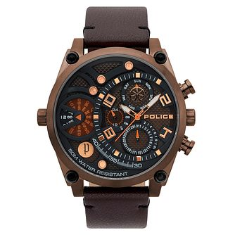 Police Men's Brown Dial Brown Leather Strap Watch - Product number 4729390