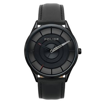 Police Men's Black Dial Black Leather Strap Watch - Product number 4729692