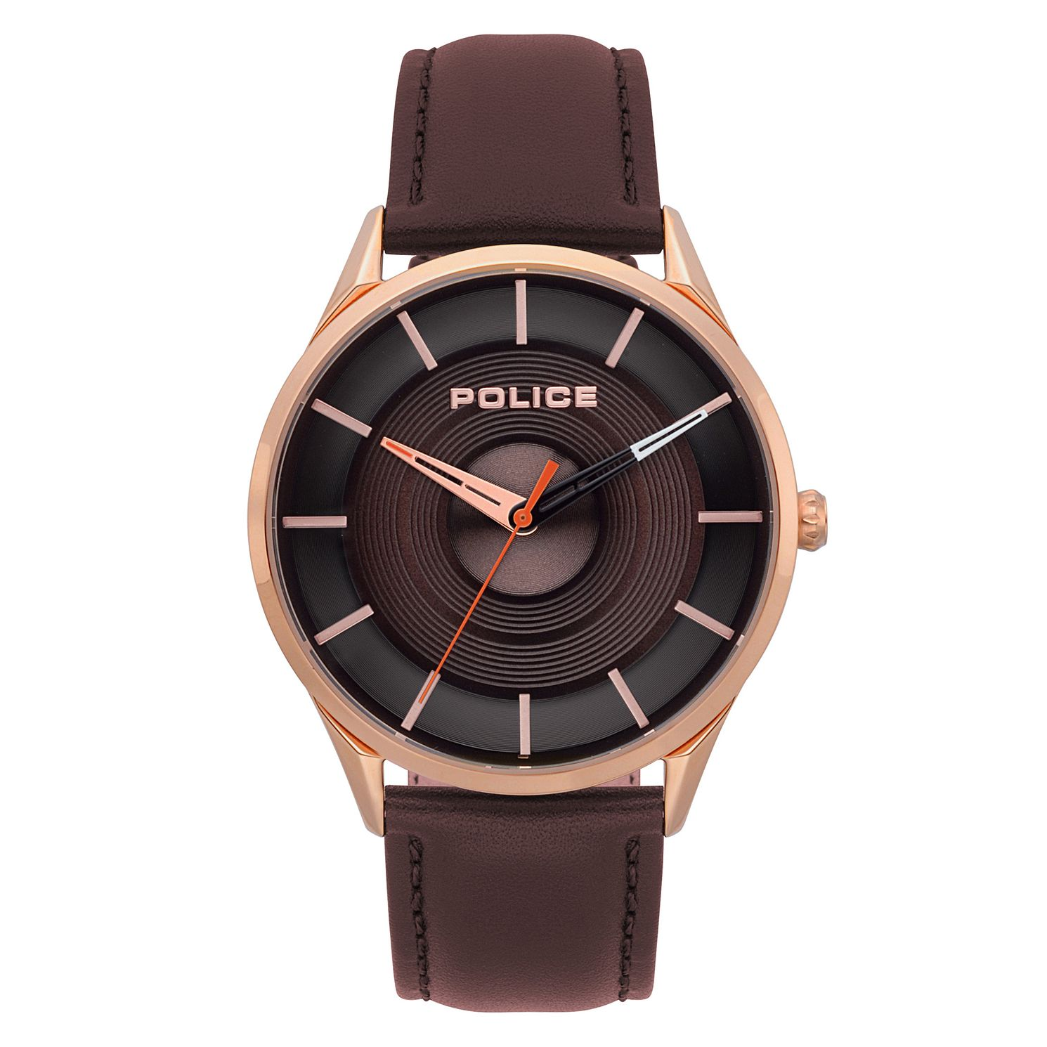 Police Men's Dark Brown Leather Strap Watch - Product number 4729757