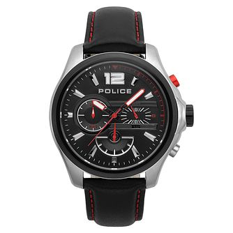 Police Men's Black Leather Strap Chronograph Watch - Product number 4729951