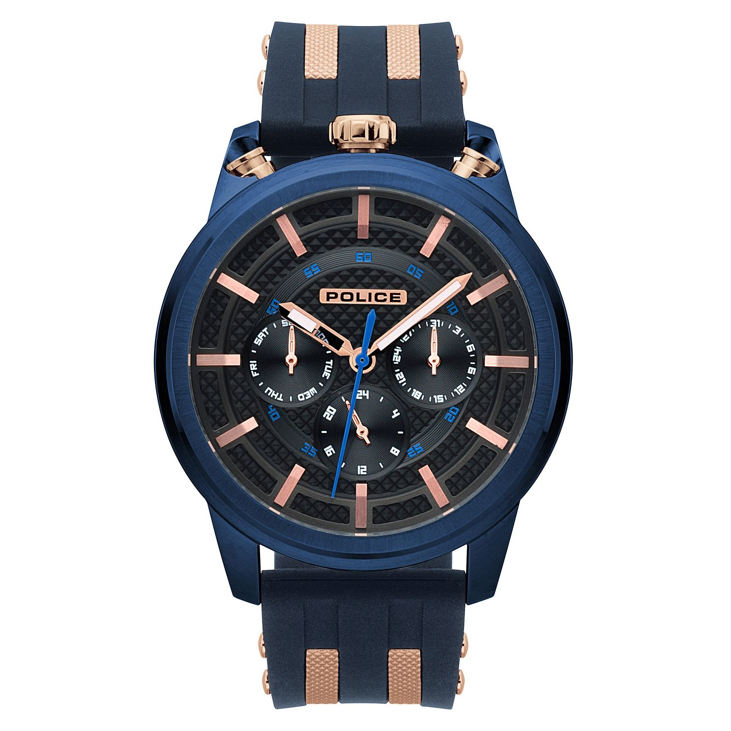 Police Men's Black Dial Blue Silicone Strap Watch - Product number 4730011