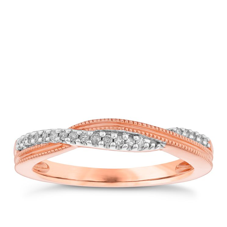 9ct Rose Gold Diamond Set Eternity Ring