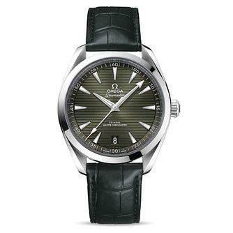 Omega Seamaster Aqua Terra Men's Khaki Leather Strap Watch - Product number 4732332