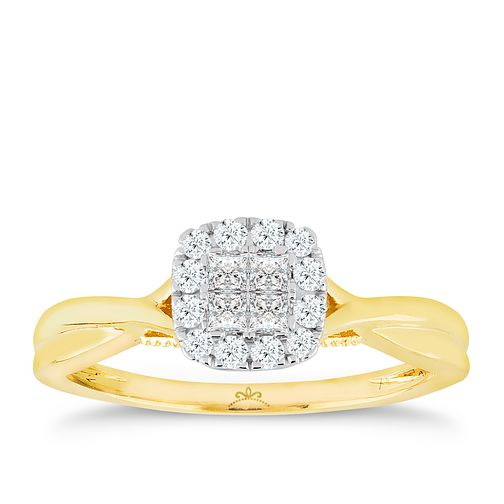 Princessa 9ct Yellow Gold 1/4ct Diamond Cluster Ring - Product number 4738969
