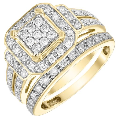 9ct Yellow Gold 2/3ct Diamond Perfect Fit Bridal Set - Product number 4740300