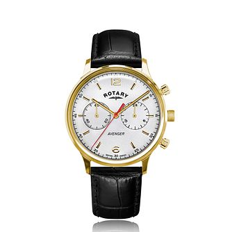 Rotary Avenger Men's Black Leather Strap Watch - Product number 4740386