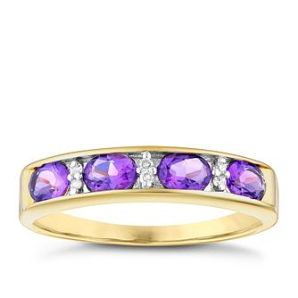 9ct Gold Oval Amethyst & Diamond Channel Set Eternity Ring - Product number 4742400