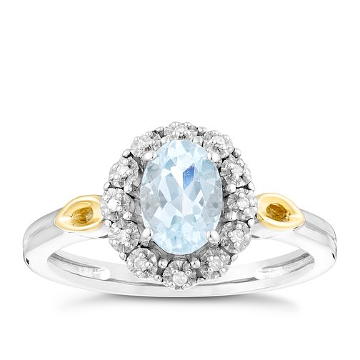 Sterling Silver & 9ct Gold Aquamarine & Diamond Ring - Product number 4746384