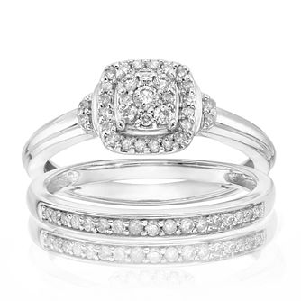 Perfect Fit Argentium Silver 1/4ct Diamond Band Bridal Set - Product number 4746643
