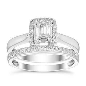 Perfect Fit 9ct White Gold 1/3ct Diamond Baguette Bridal Set - Product number 4747356