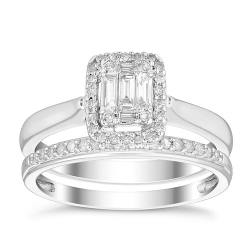 01fc5ccd6e2 9ct White Gold 1/3ct Diamond Perfect Fit Bridal Set | H.Samuel