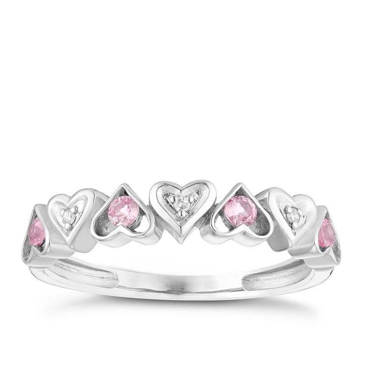 9ct White Gold Pink Sapphire & Diamond Heart Eternity Ring