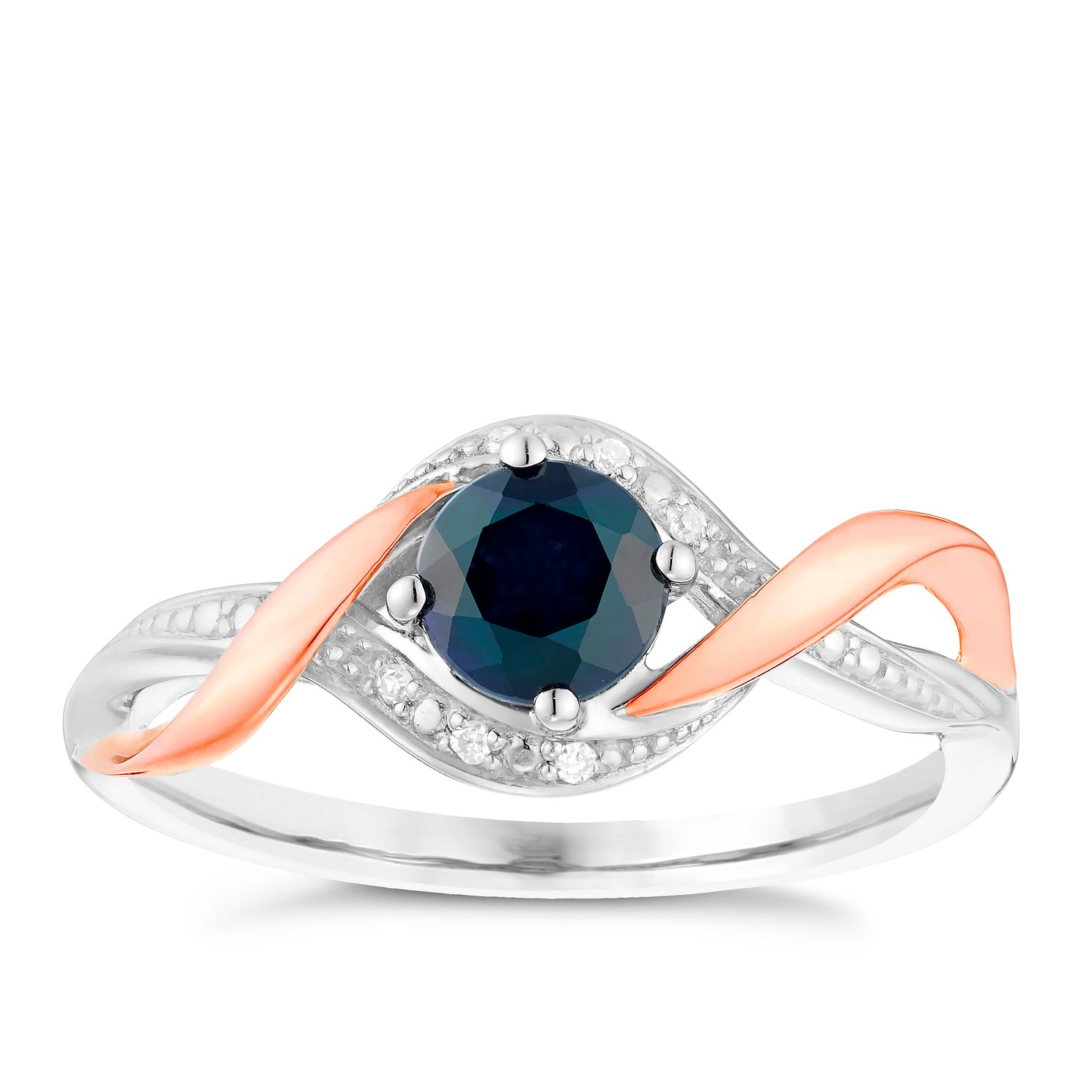 Sterling Silver & 9ct Rose Gold Sapphire & Diamond Ring - Product number 4748093