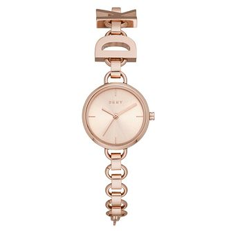 DKNY Soho Ladies' Rose Gold Tone Logo Bracelet Watch - Product number 4751817