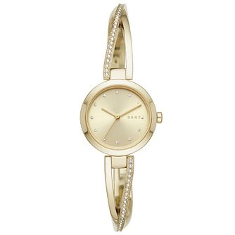 DKNY Crosswalk Crystal Ladies' Gold Tone Bangle Watch - Product number 4751825