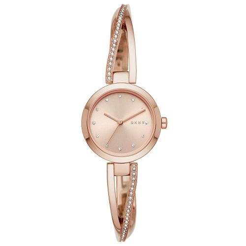 DKNY Crosswalk Crystal Ladies' Rose Gold Tone Bangle Watch - Product number 4751833