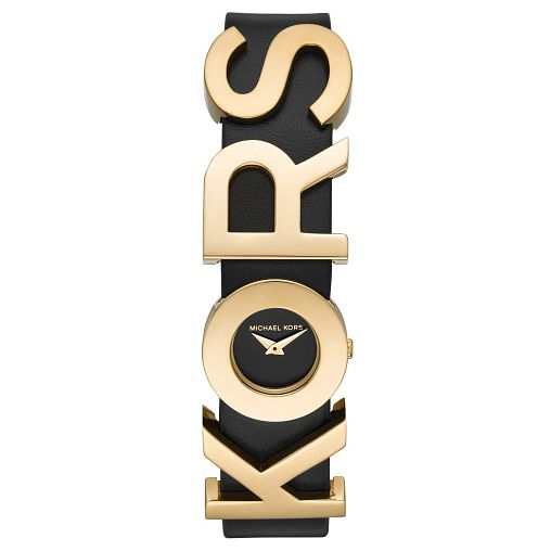 Michael Kors Ladies' Embellished Black Leather Strap Watch - Product number 4751892