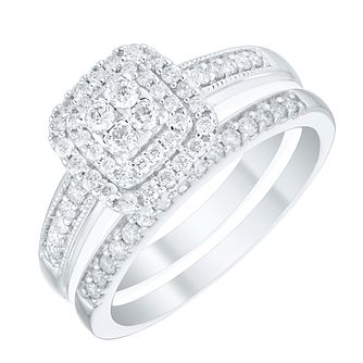 Perfect Fit 9ct White Gold 1/2ct Diamond Bridal Cushion Set - Product number 4755499