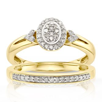 Perfect Fit 9ct Yellow Gold 1/5ct Diamond Oval Bridal Set - Product number 4755995