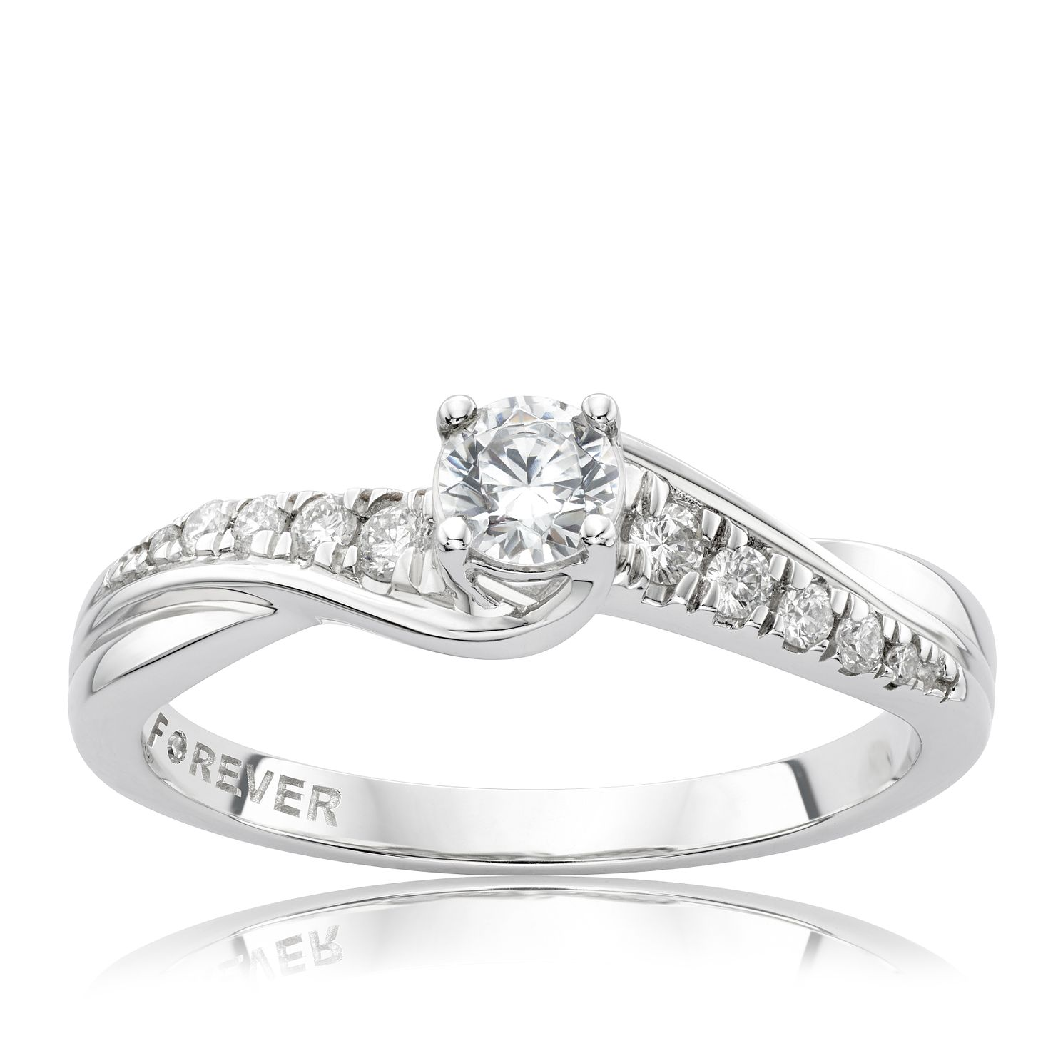 The Forever Diamond Platinum 0.33ct Total Ring - Product number 4756606