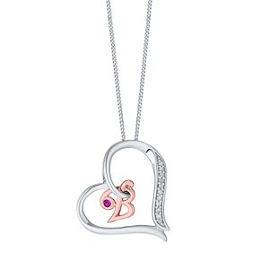Silver & 9ct Rose Gold Diamond Set Initial B Pendant - Product number 4761227
