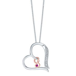 Silver & 9ct Rose Gold Diamond Set Initial G Pendant - Product number 4761502