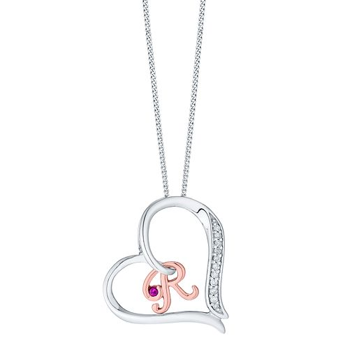 Silver & 9ct Rose Gold Diamond Set Initial R Pendant - Product number 4761650