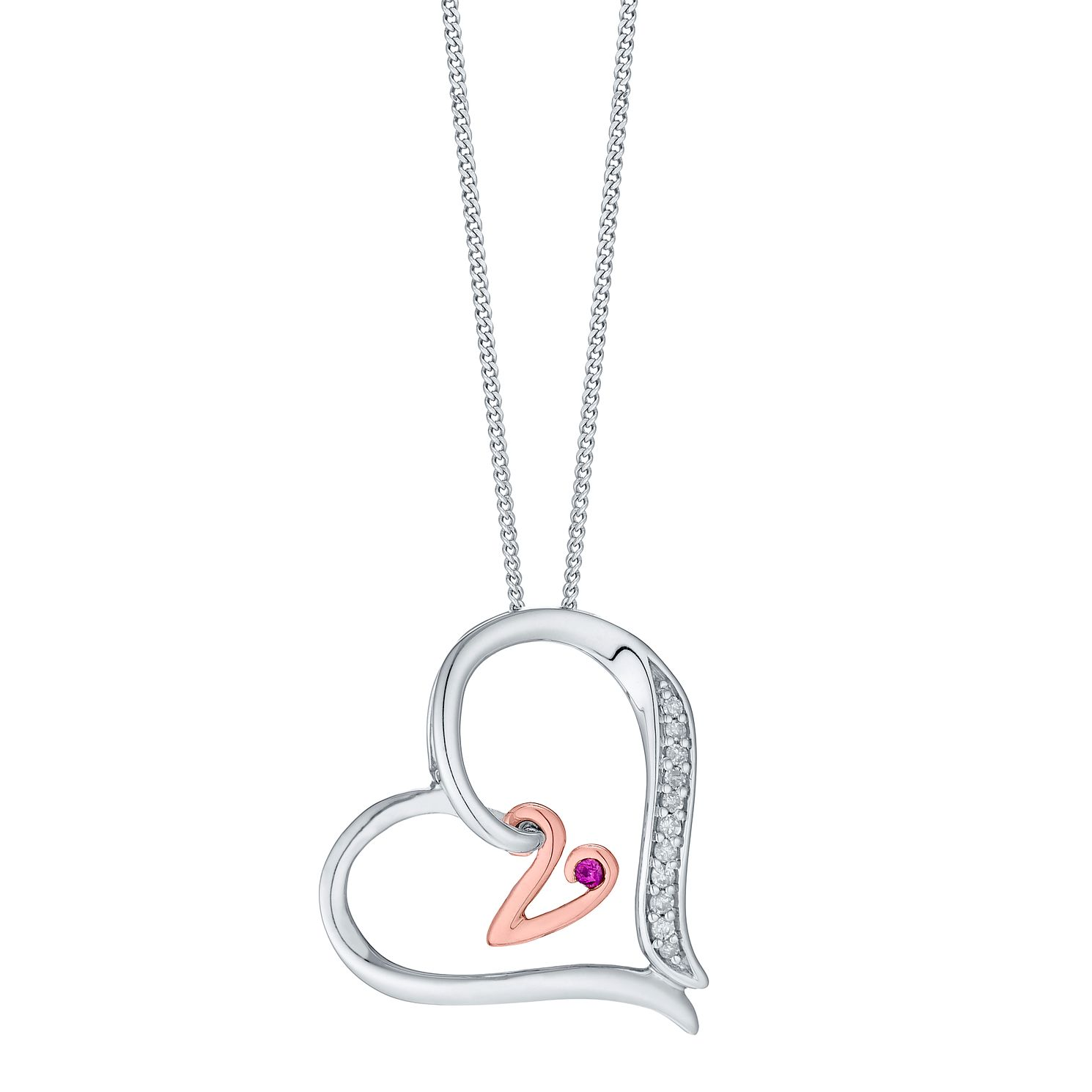 Silver & 9ct Rose Gold Diamond Set Initial V Pendant - Product number 4761723